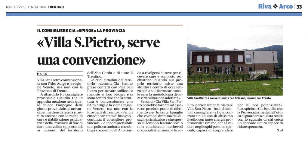 Villa San Pietro, serve una convenzione