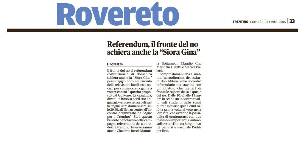 Referendum, il fronte del no schiera la Siora Gina
